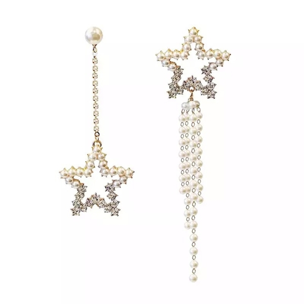 現貨 韓國氣質女神誇張星星珍珠不對稱水鑽流蘇925銀針耳環 S93182 批發價 Danica 韓系飾品