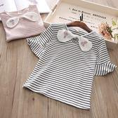 2018夏裝正韓新款童裝兒童條紋短袖蝴蝶結打底衫寶寶甜美t恤上衣禮物限時八九折