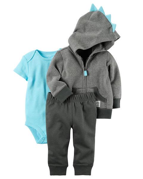 3件組連帽刷毛外套+短袖包屁衣+長褲套裝: 藍色恐龍: 121H640