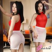 性感短裙 情趣商品 角色扮演 Gaoria 性感絲滑 透明後開叉緊身裙 半身裙 包裙 白 薄紗 透氣