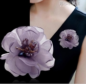 韓版布藝花朵胸針胸花淑女清新簡約大氣娟紗氣質別針職業配飾品女  育心小館