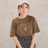 MUMU【T32484】小熊圖案插畫印花上衣。白/咖啡