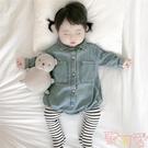 嬰兒柔軟牛仔連身衣秋裝男女寶寶時尚長袖包...