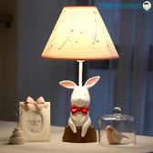 尾牙年貨節小白兔子檯燈臥室床頭燈可調光LED洛麗的雜貨鋪