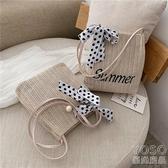 夏季個性編織小包包女新款潮韓版百搭單肩斜挎時尚絲巾草編包 『優尚良品』