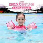 兒童浮力泳衣背心充氣救生衣浮袖臂圈水袖漂浮寶寶學游泳裝備 美芭印象