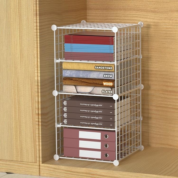 辦公室柜子分層架文件柜桌上收納神器A4紙鐵藝多層置物架整理架子