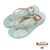 Paidal x Rascal小小浣熊花季夾腳厚底拖鞋