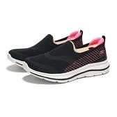 SKECHERS 休閒鞋 GO WALK STETCH FIT 黑粉 編織 格紋縫線 懶人鞋 女 (布魯克林) 124385WBKMT