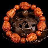 全館免運八折促銷-天然手工精雕桃木大日如來小佛像納福平安佛珠手鍊本命佛男女情侶