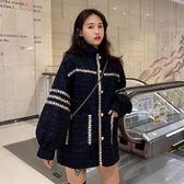 小香風外套 秋裝新款設計感拼色氣質寬鬆中長款呢子長袖女學生 - 歐美韓