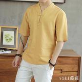 中國風亞麻t恤男裝短袖中式棉麻盤扣中袖上衣夏季寬鬆大碼麻料T恤 nm3895 【VIKI菈菈】