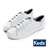 KEDS 時尚運動基本綁帶皮質休閒鞋 白 173W132222 女鞋 平底│小白鞋