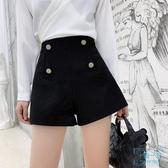毛短褲 黑色短褲女秋冬季2019新款高腰冬天外穿a字百搭闊 十點一刻
