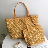 女包新款韓國新款潮狗牙包購物袋托特包菜籃子大容量單肩大包 至簡元素
