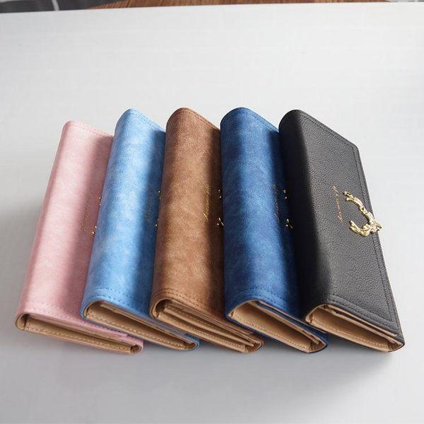 磨砂皮長款錢包女新款簡約時尚大氣歐美大容量小鹿皮夾錢夾 至簡元素