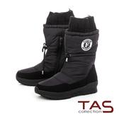 TAS防潑水抽繩造型襪套雪地靴-率性黑