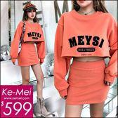 克妹Ke-Mei【ZT48924】歐洲站 年輕感電繡字母U領短版T+短裙二件式套裝