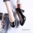 小跟鞋四季女粗跟單鞋一腳蹬淺口韓版圓頭高跟鞋子防水台女式皮鞋「時尚彩紅屋」