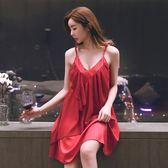 吊帶睡裙女款夏天寬鬆性感睡衣女士冰絲緞面雪紡可外穿夏季薄紅色【全館78折最後兩天】