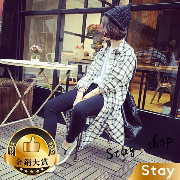【Stay】2018春季新款 復古寬鬆格子中長款外套 開叉襯衫休閒百搭長袖外套【J33】