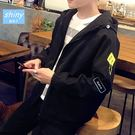 【Y096】shiny藍格子-港仔潮流.秋冬季純色刺繡寬鬆連帽長袖外套