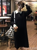 針織洋裝秋冬韓版2020新款女人味裙子POLO領小黑裙長袖針織毛衣連身裙女潮 春季上新