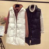 寬鬆顯瘦棉衣外套秋冬歐美風格中長款棉坎肩馬甲女背心潮