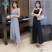 洋裝夏女性感氣質露肩顯瘦小禮服收腰開叉抹胸吊帶長裙 可可鞋櫃