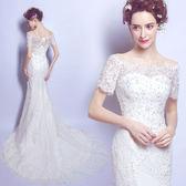 婚紗禮服 優雅蕾絲一字肩魚尾小拖尾新娘婚紗禮服2018新款6161T