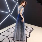 verawang晚禮服女2019新款星空裙長款宴會高貴優雅主持人公司年會