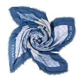 美國正品 COACH 緹花LOGO馬車印花莫代爾棉方巾-單寧藍【現貨】