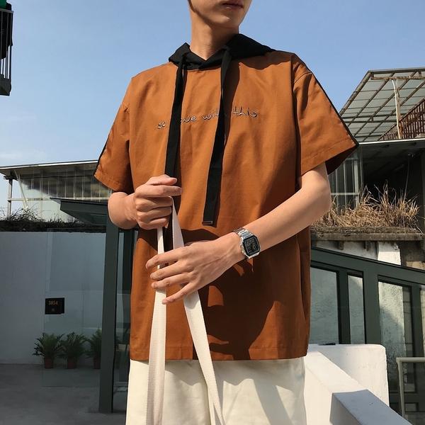 FINDSENSE H1 2018 夏季 個性 連帽 T恤 潮流 寬鬆 抽繩帽