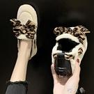 網紅毛毛船鞋女外穿冬季新款時尚豹紋一腳蹬加絨豆豆鞋棉瓢潮 交換禮物