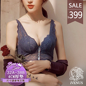 內衣-藍調派對(僅上身)(內褲可加購)歐美法式蕾絲性感爆乳集中無鋼圈厚墊 玩美維納斯 32-38A.B罩杯