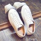 夏季鞋百搭白色板鞋男韓版圓頭休閒鞋平底繫帶小白鞋男鞋子 港仔會社