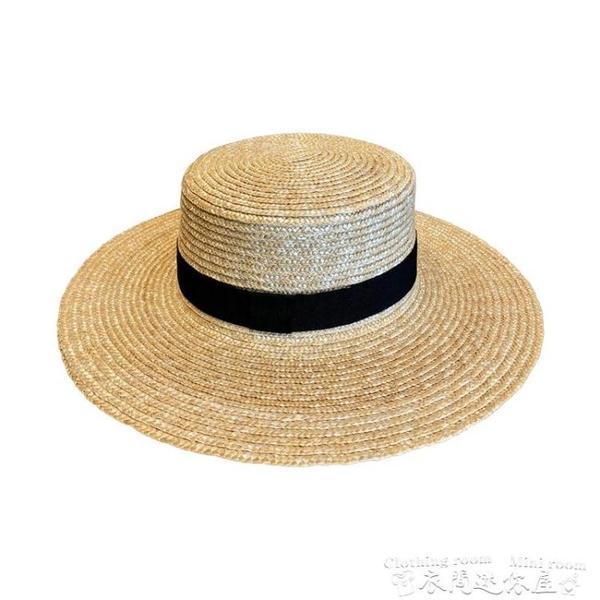 漁夫帽拉菲草帽女防曬遮陽帽子沙灘網紅平頂夏季韓版百搭日系編織漁夫帽 迷你屋 新品