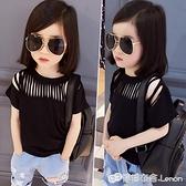 女童T恤 童裝女童歐美范兒百搭黑色剪條鏤空短袖T恤上衣夏季新款0005