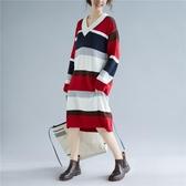 彩色條紋V領洋裝連身裙 文藝大尺碼寬鬆慵懶風減齡長袖毛衣裙子 超值價