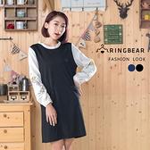 連身洋裝--優雅質感荷葉領口古典袖口刺繡雙口袋顯瘦A字裙(黑.藍M-2L)-A318眼圈熊中大尺碼