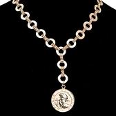 合金項鍊-雙面錢幣吊墜女鎖骨鍊2色73uz6[時尚巴黎]
