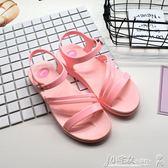 夏季新款果凍鞋舒適休閒中跟平底百搭簡約塑料一字扣女涼鞋 小宅女大購物