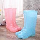 成人長筒雨靴女可愛水鞋雨鞋女高筒時尚水靴防滑加絨高筒防水膠鞋