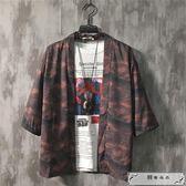 北駱日系復古七分袖襯衫男防曬衣夏季五分袖青年寬松個性道袍和服
