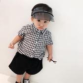 男嬰短袖襯衫 嬰兒童裝男童黑白格子襯衫薄款百搭短袖襯衣上衣 珍妮寶貝