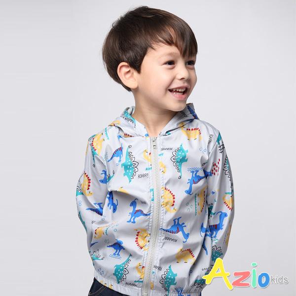 Azio Kids男童 外套 滿版恐龍連帽風衣外套(灰) Azio Kids 美國派 童裝