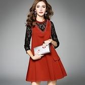 洋裝-七分袖立領鑲鑽鏤空蕾絲女連身裙2色73of132【巴黎精品】