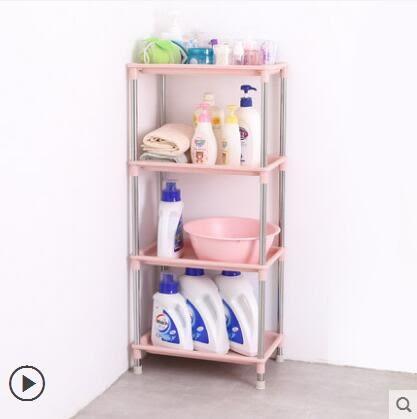 浴室置物架廁所洗澡間三角臉盆架子不銹鋼衛生間塑料收納架落地櫃igo 貝兒鞋櫃