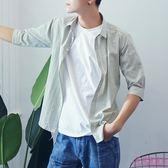 條紋 短袖 襯衫 男 襯衣 潮流 7分袖 薄款 半袖