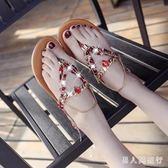 夾腳涼鞋 女鞋2019波西米亞度假沙灘羅馬人字型花邊潮 DR23963【男人與流行】